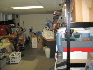Not everything is cleaned up, but the big pile in front of the shelf unit is gone. Yay!